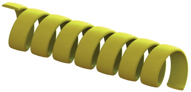 Flat HDPE spring guard for hoses – yellow colour