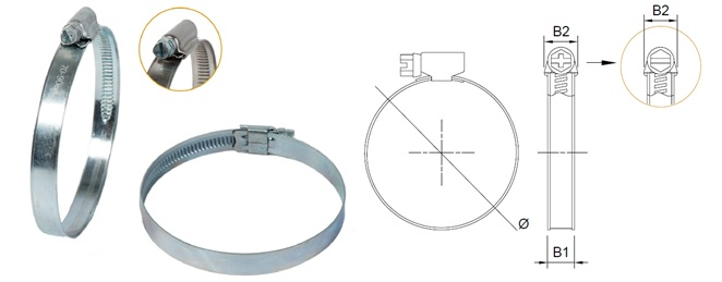 Worm Drive Hose Clamp - Band 12 mm