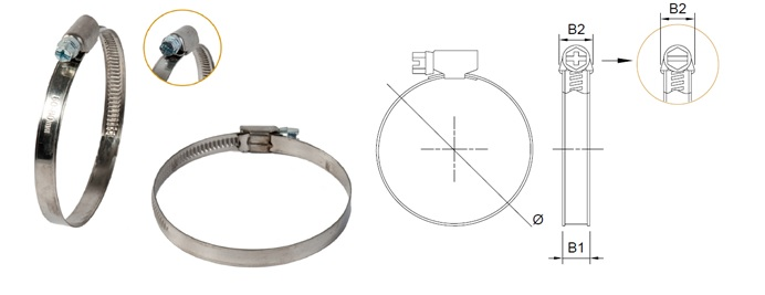 Worm Drive Hose Clamp - Band 9 mm