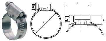 Worm Drive Hose Clamp - Band Width 12 mm