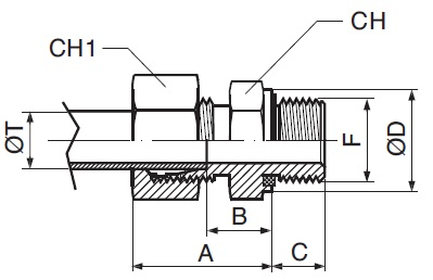 Straight End Union With Metric Cylindrical Thread DIN 3852-1